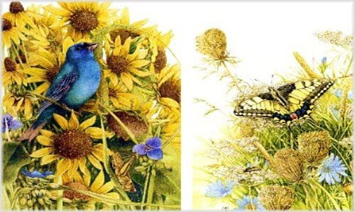 sunflowers A4 Made in Russia yellow butterfly 8,27 /× 11,69 inches Rice paper for decoupage Blue bird