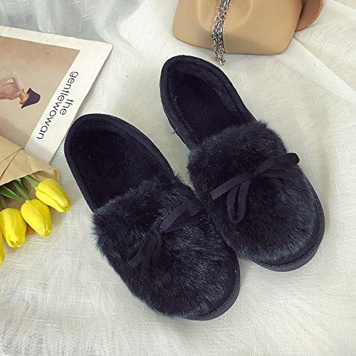 Aemember invierno zapatillas de algodón hembra Bolsa inferior grueso con cálidos Zapatos Zapatos gamuza Home Furnishing Home zapatillas,Thirty-Eight(negro) Thirty-eight|(black)