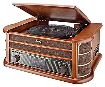 importado color marr/ón radio FM//AM, CD-RW, MP3, USB, casete, entrada auxiliar Cadena musical con tocadiscos Dual NR 4 Nostalgie