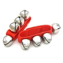 Andoer Pair of Metal Jingle Bells Bracelet Wrist Tambourine Nylon Fastener Tape Percussion Musical Toy for KTV Party Kids Games Red