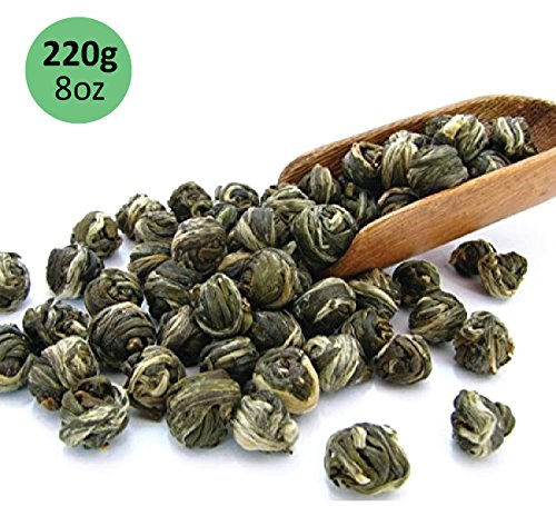 Tealyra - Imperial Jasmine Dragon Pearls - Loose Leaf Green Tea - Jasmine Green Tea with Pleasant Aroma and Tonic Effect - 220g (Leaf Effect)
