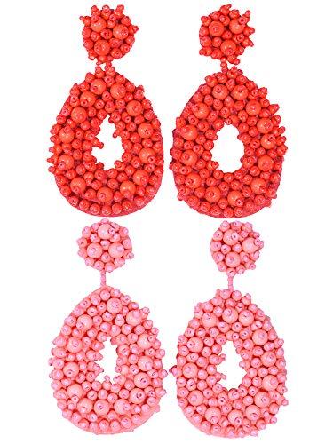 2 Pairs Statement Dangle Earrings for Women - Bohemian Beaded Round Drop Earrings Long Chandelier Earrings Idea Gift Red Pink