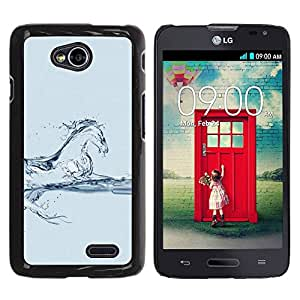 Paccase / SLIM PC / Aliminium Casa Carcasa Funda Case Cover para - Horse Steed Mustang Water Blue Glass - LG Optimus L70 / LS620 / D325 / MS323