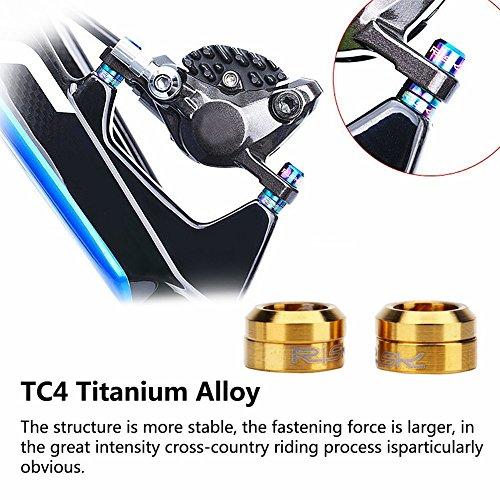 Titanium Brake Caliper Fixed Bolts Gasket Spacer TC4 M6 Bike Hydraulic Brake Caliper Bolts Spacer for Mountain Road Bike Bicycle 8Pcs -