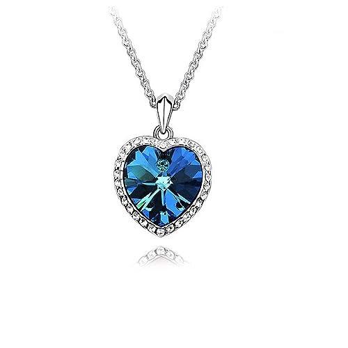 nuovo di zecca 612cd 4e66e Cuore dell'oceano Crystals from Swarovski Blu Collana con ciondolo 18 kt  placcato oro per donne 45 cm