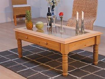 Couchtisch Glasplatte Tisch Wohnzimmertisch Kiefer Amazon De Kuche