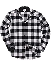 Men's Long Sleeve Flannel Shirt W/Point or Button-Down Collar Options