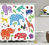 Ambesonne African Shower Curtain, Collection of Wild African Animal Design Filled with Various Floral Ornamental Forms, Fabric Bathroom Decor Set with Hooks, 70 Inches, Multi