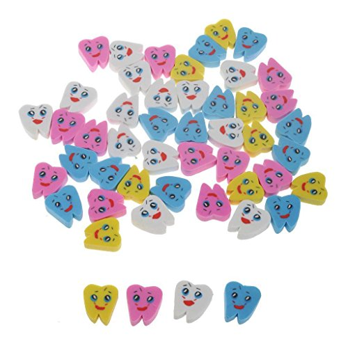 Easyinsmile 50pcs Cute Molar Teeth Shaped Eraser Assort Colors Grate Gift for Dental Clinic and School