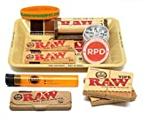 Bundle - 10 Items - RAW Rolling Paper, Pre-Rolled Tips, Paper Case, Mini Rolling Tray and Roller with RPD Grinder and Doobtube
