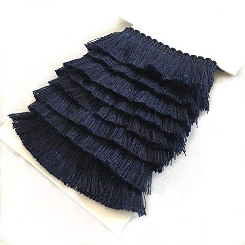 Navy Fringe - YEQIN 25mm Wide Cotton Fringe Tassel Trim 5 Yards (navy)