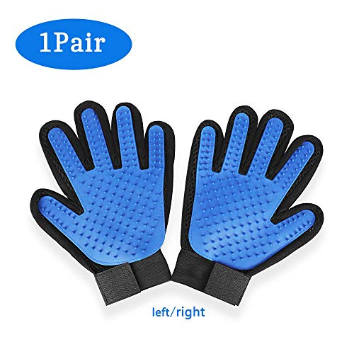 SUKEOPET Pets Hair Remover Glove Breathable Grooming Mitt Adjustable Five Finger Design 2Pcs Blue Fast-Drying Soft…