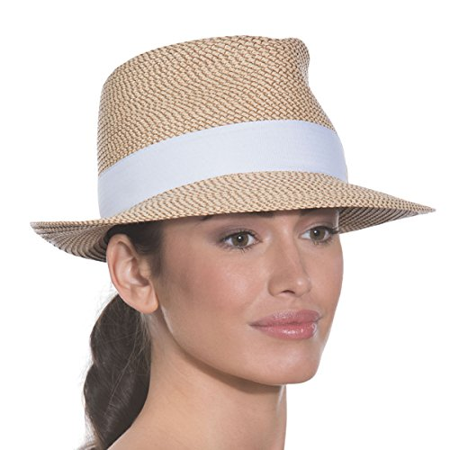 Eric Javits Luxury Fashion Designer Women's Headwear Hat - Squishee Classic- Peanut/White by Eric Javits