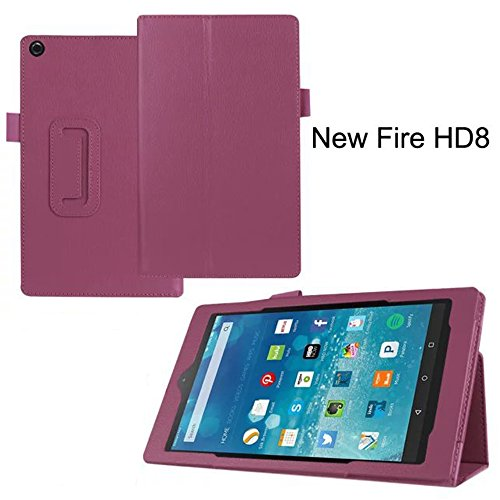 Fire Hd 10 2015 Folio Case   Slim Fit Leather Standing Protective Cover With Auto Wake   Sleep For Amazon Fire Hd 10 Tablet  10 1  Hd Display 5Th Generation   2015 Release  Purple