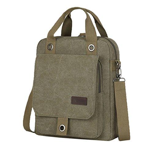 Hombres Vintage Maletín Lienzo Laptop Mochila Crossbody Bolsa Boy Viajes Casual Con Cremallera Hombro Messenger Bag Satchel Green