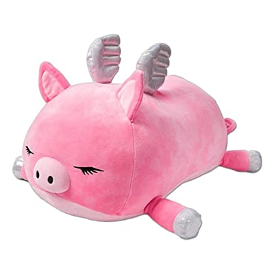 "Joy the Flying Pig 20"" Jumbo Squishmallow from Justice - Large Stuffed Animal - Girls Pink and Sparkly Plush Pillow: Toys & Games"
