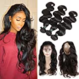 360 Lace Frontal with Bundles Pre Plucked 8A Brazilian Body Wave Bunldes with 360 Lace Frontal Closure Brazilian Hair 3 Bundles with Frontal Closure with Baby Hair (16 18 20+14)