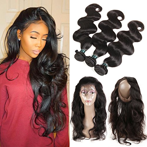 360 Lace Frontal with Bundles Pre Plucked 8A Brazilian Body Wave Bunldes with 360 Lace Frontal Closure Brazilian Hair 3 Bundles with Frontal Closure with Baby Hair (16 18 20+14) by Ashimary