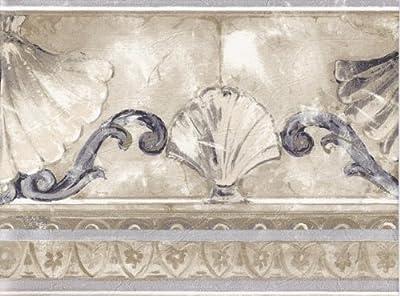 Silver Gold Stone Sea Shell Molding Wallpaper Border 74372 KS
