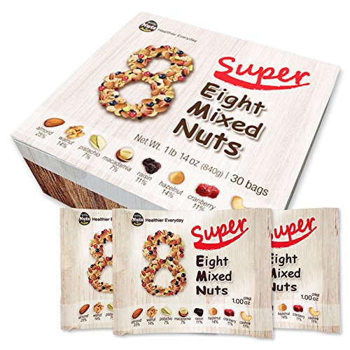 Super Eight Mixed Nuts, 22 Packs (Almonds 25%, Walnuts 14%, Cashews 11%, Macadamias 7%, Hazelnuts 14%, Pistachios 7%, Raisins 11%, Cranberries 11%) No additives, NON-GMO Verified, Premium Nuts … (Nut Super)