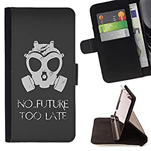 No Future Too Late Gasmask - Painting Art Smile Face Style Design PU Leather Flip Stand Case Cover FOR Samsung Galaxy S4 Mini i9190 @ The Smurfs