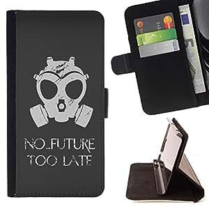 - No Future Too Late Gasmask - - Prima caja de la PU billetera de cuero con ranuras para tarjetas, efectivo desmontable correa para l Funny HouseFOR Samsung Galaxy Note 4 IV