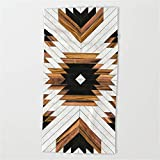 Huisfa Urban Tribal Pattern 5 - Aztec - Concrete and Wood Beach Towel 31.5''x51.2''