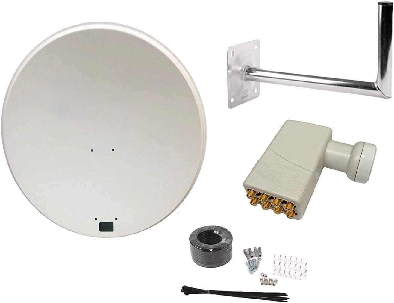 Antena parabólica SAB de 80 cm con montaje en pared, cable de ...