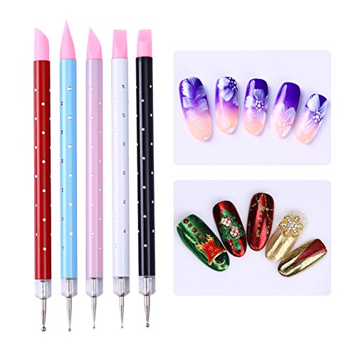 15PCS Design Painting Pen Nail Art Brush Set for Salon Manicure DIY Tools (Pink) - 7