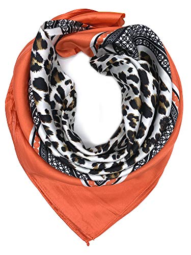 (YOUR SMILE Leopard Print Silk Like Scarf Women's Fashion Pattern Large Square Satin Headscarf,Orange)
