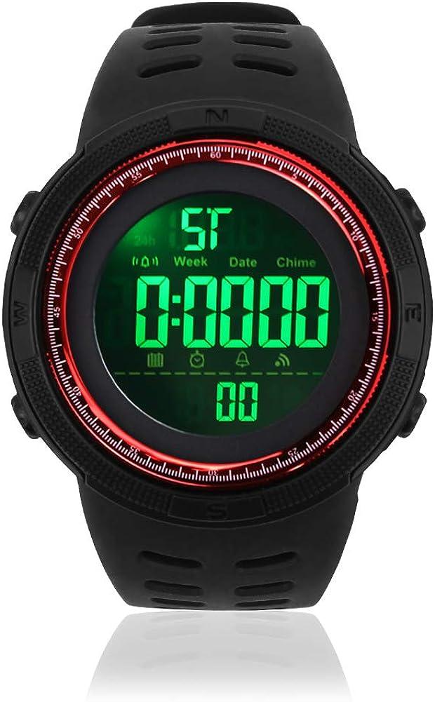 Reloj Deportivo Digital para Hombre, Resistente al Agua, con cronómetro, Cuenta atrás, fácil de Leer, 1 Unidad, Rojo