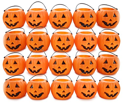 "Well Pack Box Halloween Pack with 24 Mini 2"" Tall Orange Plastic Jack O Lantern Pumpkins Decorations Perfect for Any Spooky Parties or Events]()"
