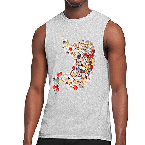Webb Men's Muscle Tank Top Softball Medicine Pill Heart Gym Training-Tech Running Activewear Gray ()