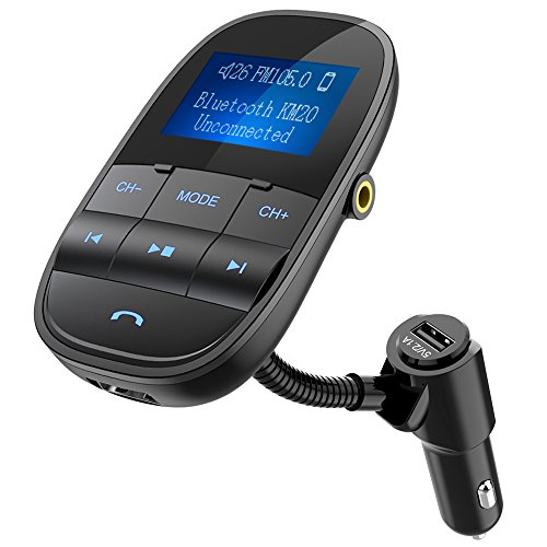 Nulaxy Bluetooth FM Transmitter Sleep Shuffle Wireless Hands Free Car Kit W USB Charger Play USB Flash Drive Micro SD Card Aux Input Output 1.44 Inch Display, KM20 - Black
