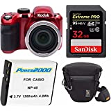 KODAK PIXPRO AZ421 16MP Digital Camera (Red) w/ Holster Case & 32GB SD Bundle