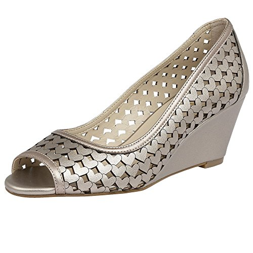 Lotus Valetta Womens Wedge Heel Shoes Pewter