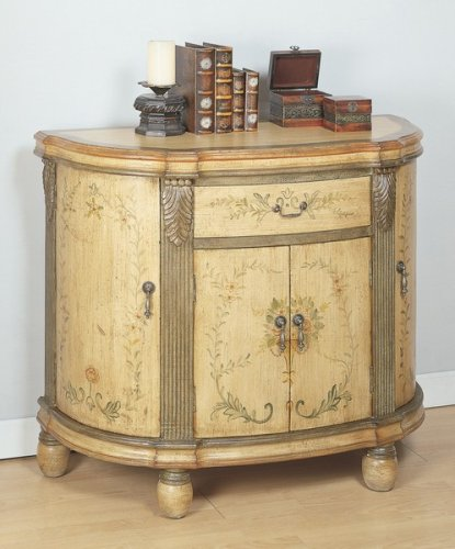 (Half Round Console Entry Way Accent Bombe Chest w/Hand Pained Accents)