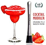 Cocktail Muddler and Mixing Spoon By SILVERgrade, Stainless Steel 18/8,, Includes 5 Drink Stirrers