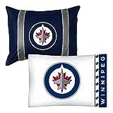 2pc NHL Winnipeg Jets Pillowcase and Pillow Sham Set Hockey Team Logo Bedding Accessories