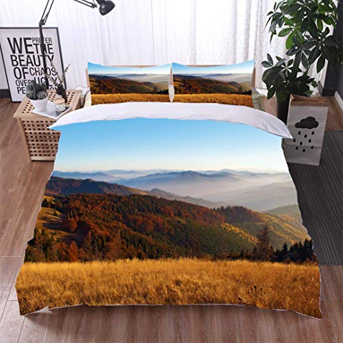 Euro Hill Quilt - VROSELV-HOME Full Queen Duvet Cover Sets,View of Hills of a Smoky Mountain Range Covered in red Orange and Yellow deciduous Forest Duvet Cover with Pillowcases Child Bedding Sets,