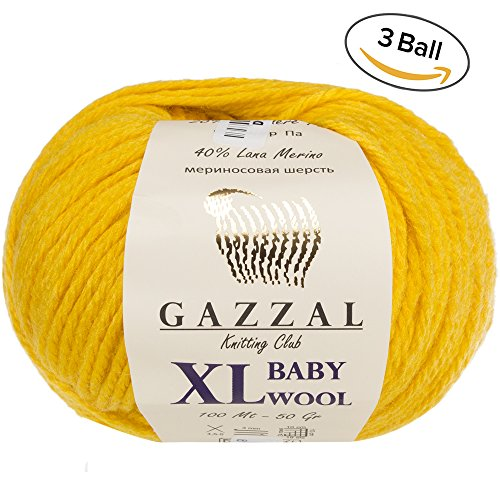 3 Pack (Ball) Gazzal Baby Wool XL Total 5.28 Oz / 328 Yrds, Each Ball 1.76 Oz (50g) / 109 Yrds (100m) Super Soft, Medium-Worsted Yarn, 40% Lana Merino 20% Cashmere Type Polyamide, Yellow-812