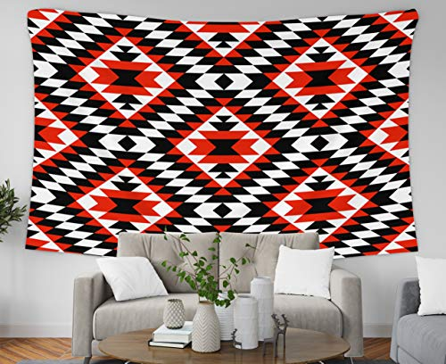 Jacrane Christmas Tapestry Wall Hanging with 60x50 Inches Christmas Tribal Colorful Geometric Pattern Art Tapestries for Bedroom Living Room Home Decor Wall Hanging Tapestries