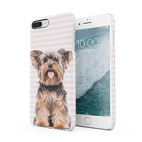 Cute Pink Lines Yorkie Yorkshire Terrier Dog Pattern Protective Hard Plastic Snap-On Phone Case Cover For iPhone 7 Plus/iPhone 8 Plus