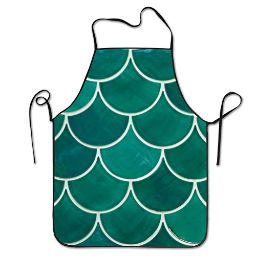 RZ GMSC Novelty Green Fish Scales.JPG Unisex Kitchen Chef Apron - Chef Apron For Cooking,Baking,Crafting,Gardening And BBQ
