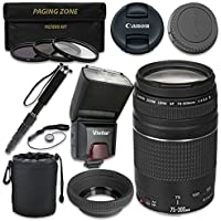 Canon EF 75–300mm f/4–5.6 III Lens with Vivitar TTL Flash + 3pc Filter Kit + Monopod