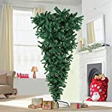 AerWo 7ft/210cm Green Upside Down Artificial Christmas Tree with Foldable Metal Stand for Christmas Decorations