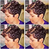 (US) BeiSD Short Ombre Blonde Brown Wig Short Curly Synthetic Wigs For Black Women Afro Curly Wigs For African American Women Black Women Hairstyles