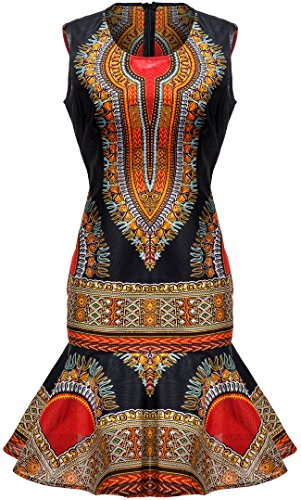 Shenbolen Woman African Print Dress Dashiki Traditional Dress Party Dresses (XX-Large, C)