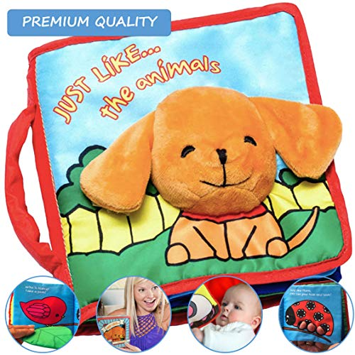 Premium Baby Book (First Year), Cloth Book Baby Gift, Fun Interactive Soft Book for Babies, Infants, Boys & Girls with Crinkly Sounds, Developmental Toy, Cute Baby Shower Box, Touch and Feel, Peekaboo (Best Gifts For Infants)