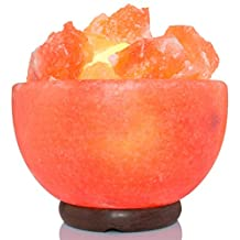 AMSkart Pink Crystal Himalayan Salt Fire Bowl Lamp with Dimmer Switch and Wooden Base, 7 x 6.5 x 6.5 - Inch, 8 - 10 lbs